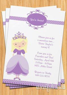 Blonde Princess Birthday Party Invitation -