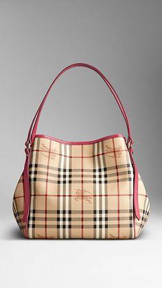 Small Haymarket Check Patent Trim Tote Bag | Burberry