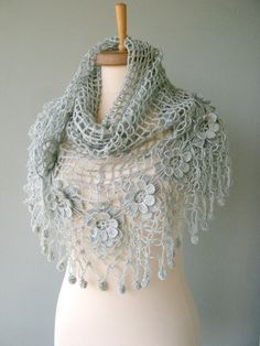 Silver Bridal Shawl, Silver Gray Crocheted Shawl, Mohair Shawl with Flowers via DHL Express on Etsy, € 44,55
