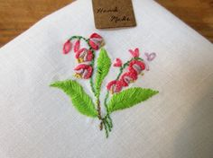 Hand sewn stitched columbine flower handkerchief by CharmingPocket