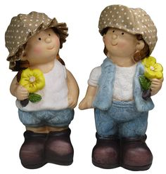 "khevga Gartenzwerg 2er Set aus Terrakotta-Keramik ""Hänsel und Gretel"""