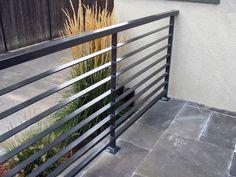 Gallery of modern patio railing exterior railings toronto deck metal uk - exterior railing design Steel Grill Design, Steel Railing Design, Modern Railing, Metal Railings, Modern Fence, Horizontal Deck Railing, Balcony Grill Design, Balcony Railing Design, Fence Design