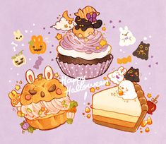 """Have some spooky treats! Here's the halloween stickers that I will include for this month's order 🍁🍂🌰🎃"""" Cute Food Drawings, Cute Animal Drawings Kawaii, Kawaii Doodles, Kawaii Art, Cute Food Art, Cute Art, Desserts Drawing, Food Cartoon, Kawaii Wallpaper"""