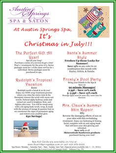Tis the season to celebrate our Christmas in July specials! Spa Specials, Spring Spa, Salon Services, Body Wraps, Spa Treatments, Christmas In July, Resort Spa, Salons, Massage