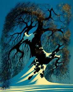 """© 2006 Eyvind Earle Publishing  Title:Winter Bonsai23"""" X 48""""               To Order  ----  Please Call    831-625-1738 or Email:    info@gallery21.com"""