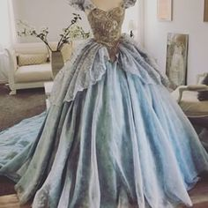 Heres a shot of the bodice :) sorry for the bad lightning! Cinderella Dresses, Disney Dresses, Cinderella Cosplay, Big Dresses, Pretty Dresses, Fantasy Gowns, Dress Drawing, Beautiful Gowns, Dream Dress