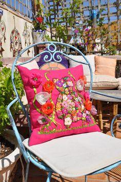 """NUEVO!!!almohadas decorativas.Funda de cojin de lino """"TEDDY"""".cojines decorativos.Funda de cojin.Funda decorativa.Funda lino bordada.Cojines"""