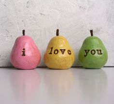 Easteri love you Three handmade decorative polymer clay by SkyeArt, $24.00