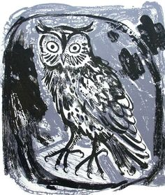 Owl - Lithograph by Mark Hearld. Limited Edition of 32. Original and signed by the artist