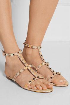 Valentino   Rockstud printed leather sandals   NET-A-PORTER.COM