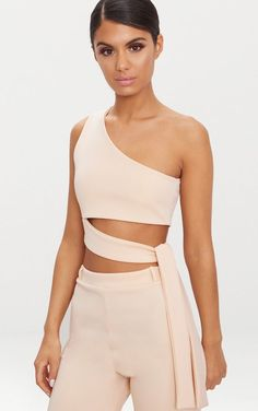 Pastel Tan One Shoulder Tie Detail Crop Top. Shop the range of tops today at PrettyLittleThing. Express delivery available. Order now Nude Outfits, Crop Top Outfits, Curvy Outfits, Classy Outfits, Fashion Outfits, Cute Crop Tops, Crop Top Shirts, Summer Outfits Women, Models