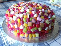 Sweets Birthday Cake Covered In Buttercream Then Jelly Beans And Dolly Mixtures For