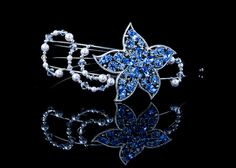 """Maria"" : Blue rhinestone vintage flower brooch with crystals and pearls headdress by SwankyDame, $190.00"