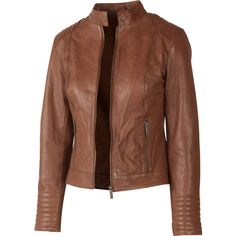 Fat Face Aira Leather Biker Jacket ($180) ❤ liked on Polyvore featuring outerwear, jackets, coats, tops, chaquetas, tan, moto jacket, brown leather jacket, real leather jacket and tan jacket