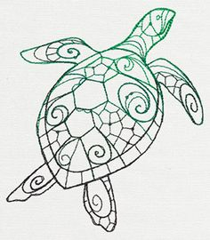The Delicate Ones - Sea Turtle - Thread List | Urban Threads: Unique and Awesome Embroidery Designs