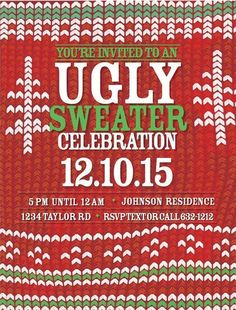 Ugly Sweater Invitation Christmas Party by AnnounceItFavors Ugly Holiday Sweater, Ugly Sweater Party, Christmas Sweaters, Christmas Christmas, Christmas Ideas, Xmas, Christmas Party Invitations, Invitation Design, Being Ugly