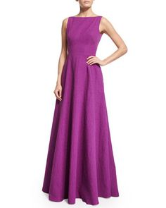 Sleeveless+V-Back+Gown+by+Lela+Rose+at+Neiman+Marcus.