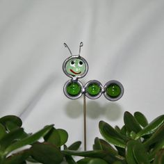 Stained Glass Green Caterpillar Plant Stake by ShellysGlassStudio, $7.00