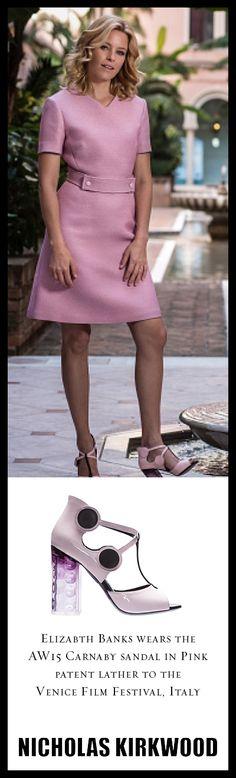 Elizabeth Banks. Venice Film Festival. Italy. #NicholasKirkwood Pink Patent Leather Carnaby Sandal.