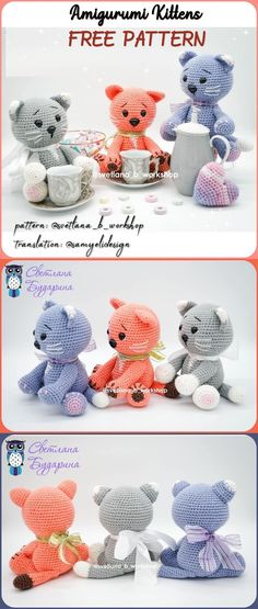 Amigurumi related to each other, we continue to share with each other. In this article amigurumi cat free crochet pattern is waiting for you. Gato Crochet, Crochet Cat Pattern, Crochet Amigurumi Free Patterns, Crochet Flower Patterns, Crochet Bunny, Free Crochet, Knitted Teddy Bear, Knitted Cat, Stuffed Animal Patterns