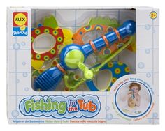 """Reel 'em into bath time with Fishing in the Tub. A short, wide fishing pole is easy for little hands to hold. Turn the reel to lower the rope and hook down to catch one of the four, bright, patterned foam fish and reel it in! """"How many fish did you catch?' They won't even realize they're learning to count. Bath time will quickly become the 'catch' of the day with this fun bath toy!"""