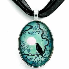 Raven Silhouette in Teal Moon Crow Tree Branch Cherry by laurali