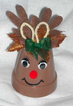 reindeer clay pot ornament... for instructions click here:  http://www.theartfulcrafter.com/reindeer.html#