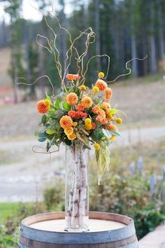 Wedding at Ten Mile Station Orange flower arrangement for Breckenridge Colorado wedding, photos by Kira Horvath Photography Birch Tree Wedding, Rustic Wedding Flowers, Floral Wedding, Fall Wedding, Church Wedding, Branches Wedding, Trendy Wedding, Wedding Reception, Fall Floral Arrangements
