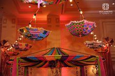 Mehendi Wedding Decor - Rajasthani Ceiling with Umbrellas #wedmegood #mehendi #decor