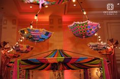 Mehendi Wedding Decor - Rajasthani Ceiling with Umbrellas #wedmegood #mehendi #decor