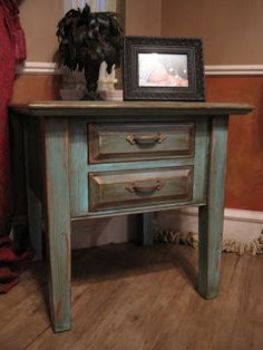 For Sale: Turquoise End Table with Distressed Gold highlights $125.00 - Refunk My Junk