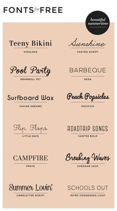 ROADTRIP #Free #fonts for summer! We love the variety of #typography styles this pin provides.
