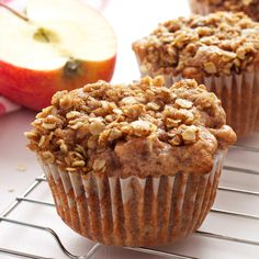 These Apple Crumble Muffins are delicious dessert-inspired muffins made with fresh apples and a delicious crumble topping!
