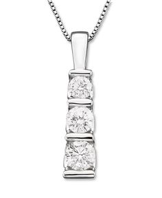 Three-Stone Diamond Pendant Necklace in 14k White Gold (1/2 ct. t.w.) - Necklaces - Jewelry & Watches - Macy's