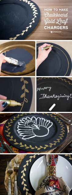 Gold Leaf Chargers with chalkboard paint - use on your holiday table and write personal messages for guests! #DIY
