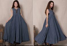 Cotton linen maxi dress Sleeveless bohemian beach big swing long dresse