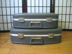 Vintage Pair Suitcases in Gray 2 Piece Set Luggage by girlgal6