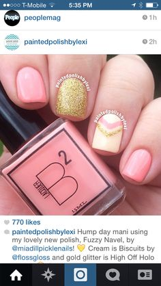 Pink and gold nails.