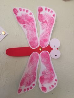 Autumn craft - dragonfly made with footprints
