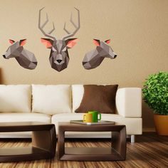 Origami Deer Wall Decal Kit  Deer Silhouette Wall by Chromantics