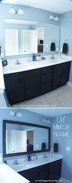 Bathroom Decor with Mirror Frames by DIY Ready at http://diyready.com/bathroom-decorating-ideas-on-a-budget/