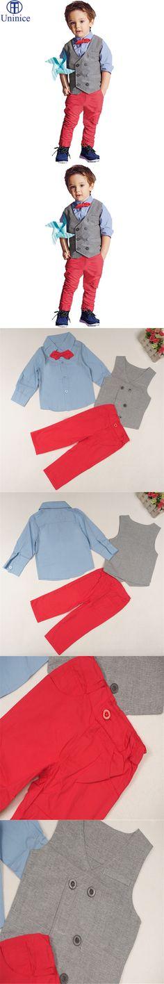 2015 fashion baby boys clothes set cartoon bow tie shirt + red long pant +vest clothes suit boys 3pcs clothing set kids clothes