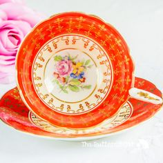 Stunning Royal Stafford red-orange fleur de lis by TheButteredCat