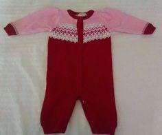 Cherokee Baby Girl Sweater Romper 3M Red Pink Fair Isle One Piece Christmas #Cherokee #EverydayHoliday
