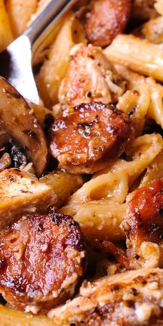 Cajun Chicken and Sausage Pasta in Creamy Parmesan Sauce is easy to make in only.Cajun Chicken and Sausage Pasta in Creamy Parmesan Sauce is easy to make in only 30 minutes! Smoked sausage, mushrooms and Worcestershire sauce here do a beauti Chicken Sausage Pasta, Chicken Pasta Recipes, Butter Chicken, Garlic Chicken, Cajun Pasta With Sausage, Creamy Cajun Chicken Pasta, Sausage Meals, Recipe Pasta, Smoked Sausage Pasta Recipes