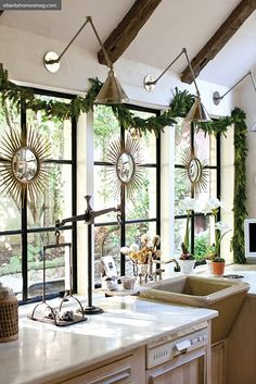 So completely in love with these windows and brass sconces.  Perfect mix of classic, vintage, fresh, timeless.