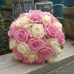 bruidsboeket roze creme rozen heaven