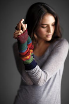 Fine Merino Ombre Stripe Glovelettes @EILEEN FISHER | Natural Dyes | Fall Eco-Trend Report | Eco Fashion | Organic Spa Magazine