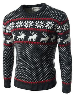 (FFT11-CHARCOAL) Slim Fit Snowflake Pattern Round Neck Knitted Long Sleeve Tshirts