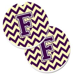Letter F Chevron Purple and Gold Set of 2 Cup Holder Car Coasters CJ1058-FCARC